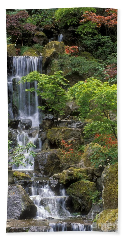 Waterfall Beach Towel featuring the photograph Japanese Garden Waterfall by Sandra Bronstein