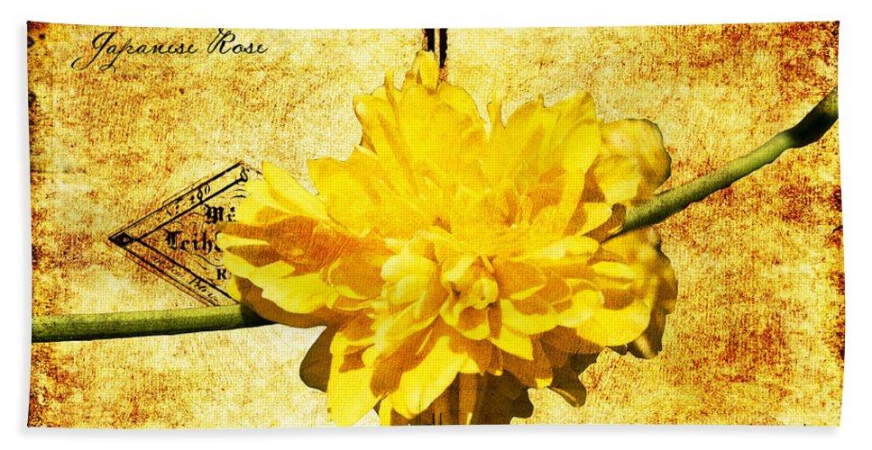 Kerria Beach Towel featuring the digital art Japanese Rose by Teresa Mucha