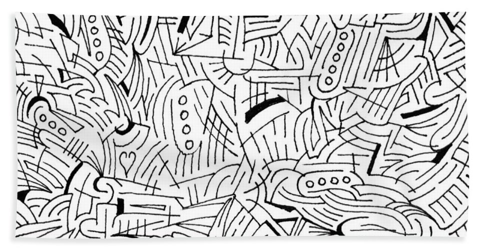 Mazes Beach Towel featuring the drawing Jason by Steven Natanson