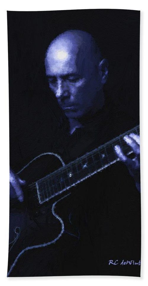 Portrait Beach Towel featuring the painting Jazz In Blue by RC DeWinter