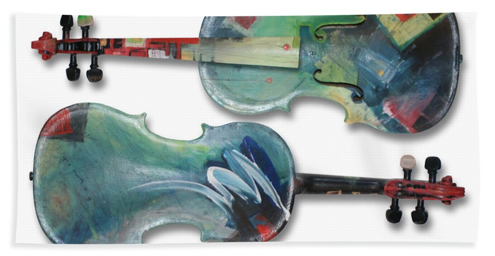 Violin Beach Sheet featuring the painting Jazz Violin - Poster by Tim Nyberg