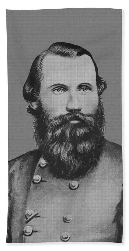 Jeb Stuart Beach Towel featuring the painting Jeb Stuart -- Confederate General by War Is Hell Store