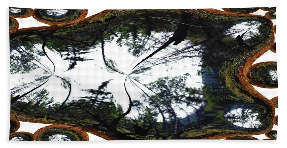 Trees Forest Life Cells Abstract Earth Sky Scenery Weird Different Green Land Beach Towel featuring the photograph Jellin by Andrea Lawrence
