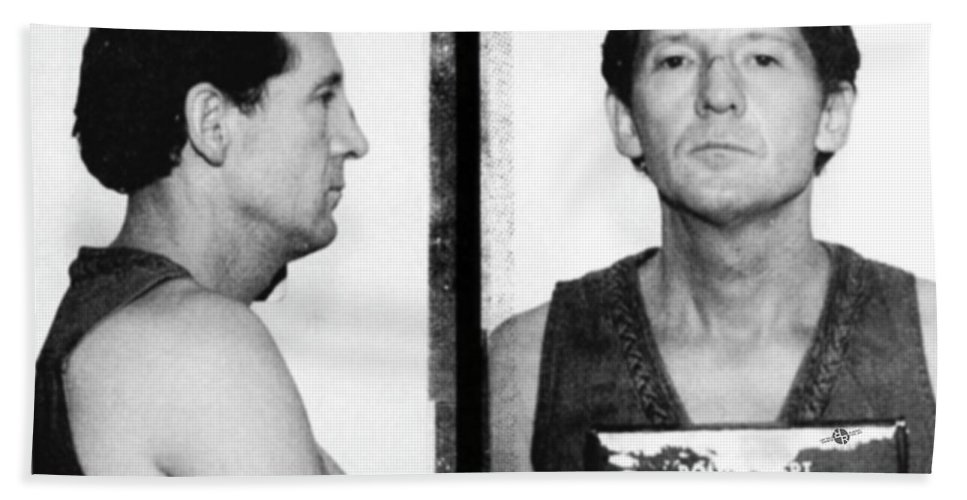 Jerry Lee Lewis Beach Towel featuring the photograph Jerry Lee Lewis Mug Shot Horizontal by Tony Rubino