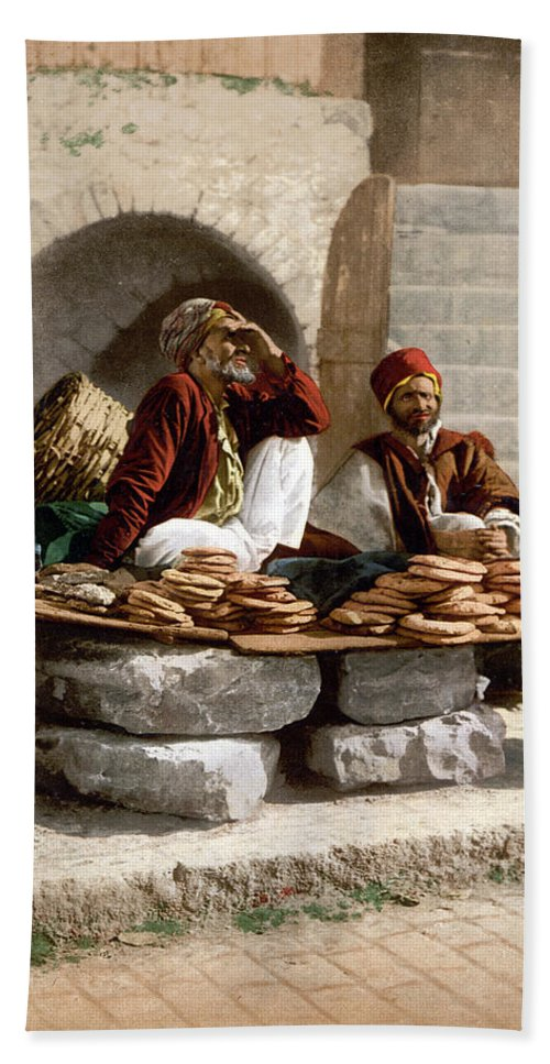 Jerusalem Beach Towel featuring the photograph Jerusalem - Bread Seller by Munir Alawi