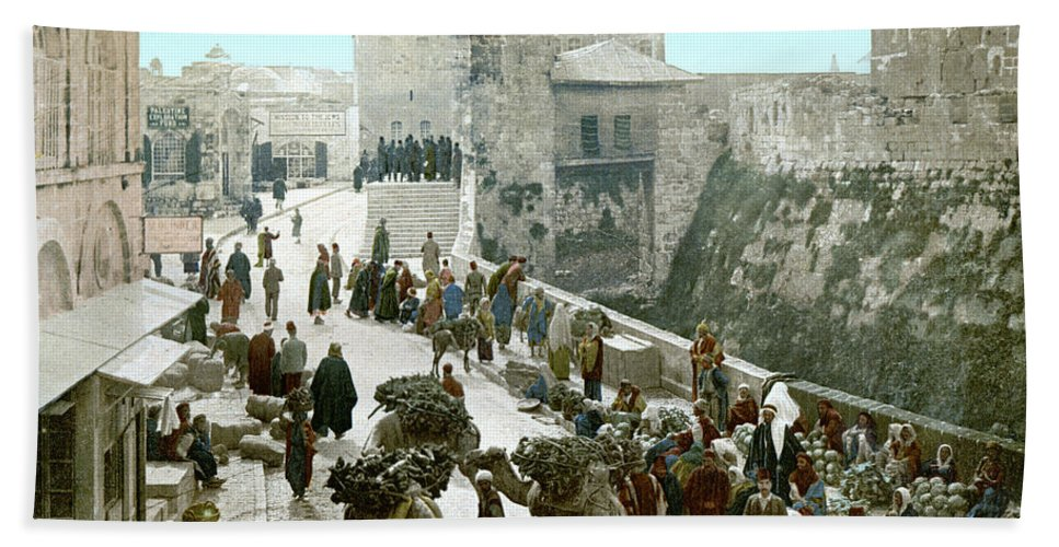 1900 Beach Towel featuring the photograph Jerusalem: Bazaar, C1900 by Granger