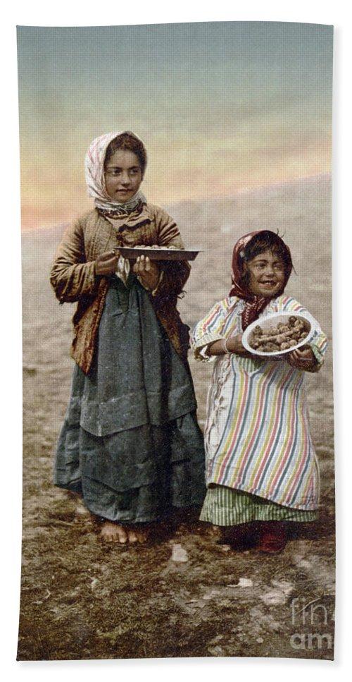 1900 Beach Towel featuring the photograph Jerusalem Girls, C1900 by Granger