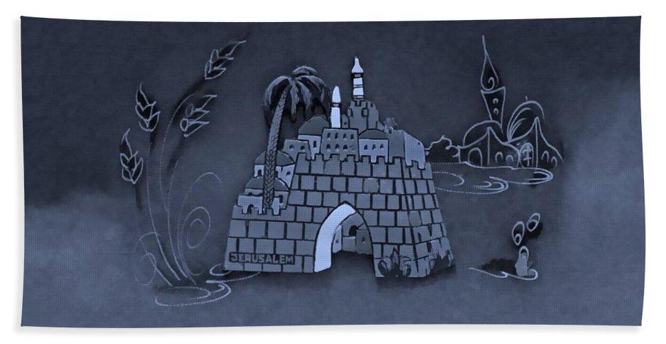 Jerusalem Beach Towel featuring the photograph Jerusalem Israel In Cyan by Rob Hans