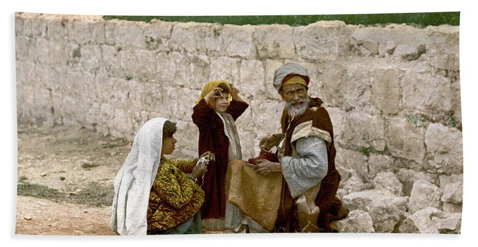 1900 Beach Towel featuring the photograph Jerusalem Shoemaker, C1900 by Granger