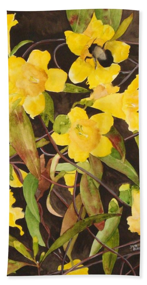 Flowers Beach Sheet featuring the painting Jessamine Jungle by Jean Blackmer
