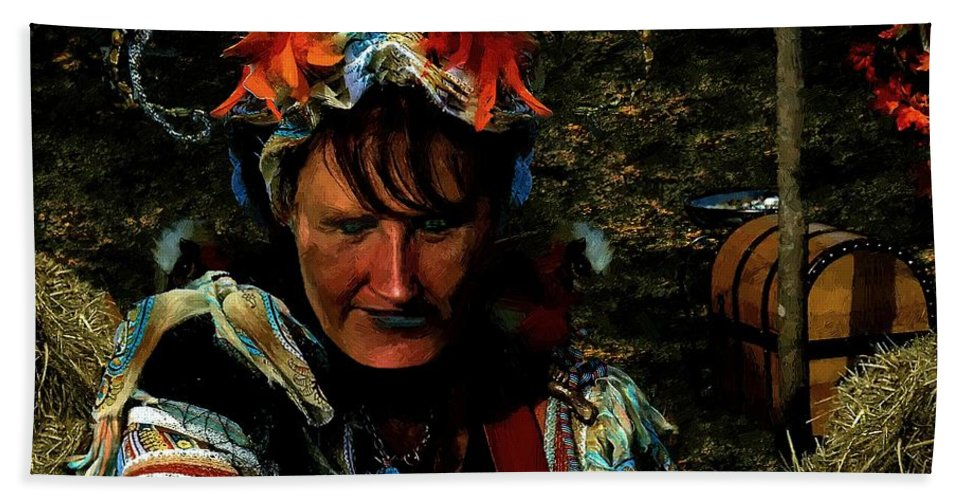 Jester Beach Towel featuring the painting Jester Somnolent by RC DeWinter