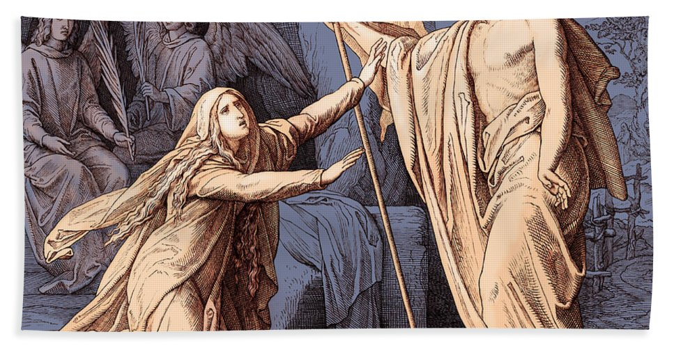 Mary Magdalene Beach Towel featuring the drawing Jesus Appears To Mary Magdalene, Gospel Of John by Julius Schnorr von Carolsfeld