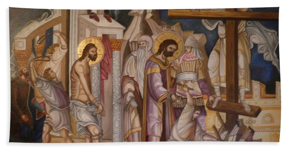Jesus Christ Beach Towel featuring the painting Jesus Arrest And Preparation For Crucifiction by Konstantinos Baklatzis