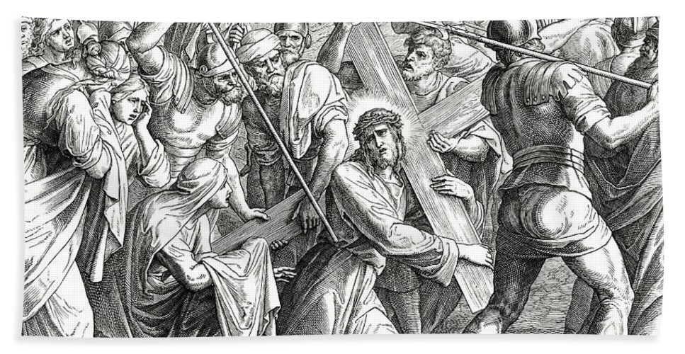 Cross Beach Towel featuring the drawing Jesus Carrying The Cross, Gospel Of Luke by Julius Schnorr von Carolsfeld