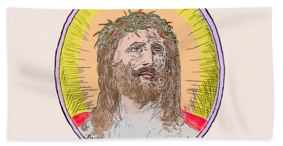 Jesus Beach Towel featuring the painting Jesus With The Crown Of Thorns by Donna L Munro