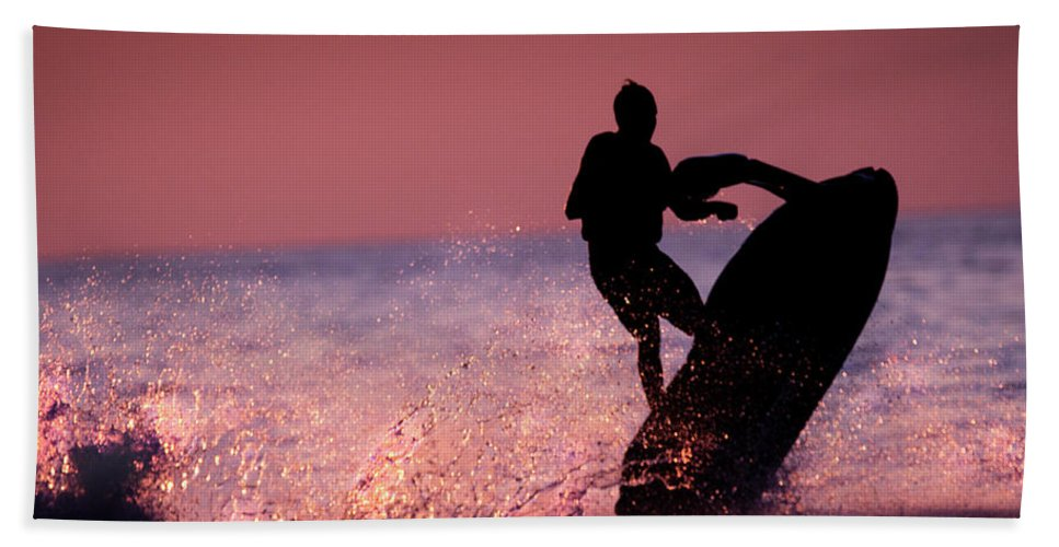 Jet Ski Beach Towel featuring the photograph Jet Ski On Lake Erie by Mark Stephens