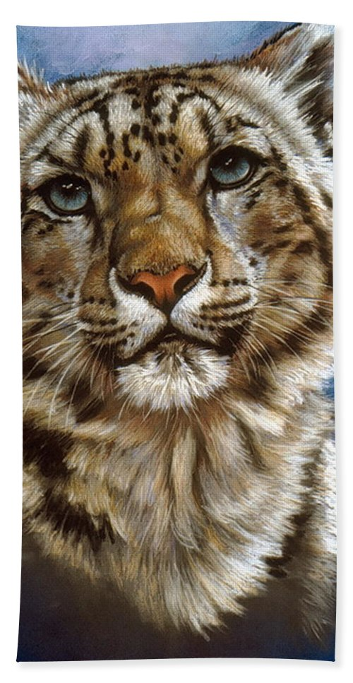 Snow Leopard Beach Towel featuring the pastel Jewel by Barbara Keith