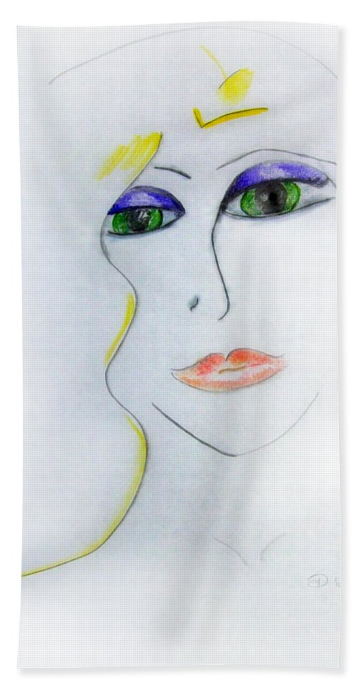Girl Beach Towel featuring the drawing Jewel Of India by Donna Blackhall