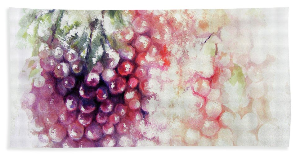 Grapes Beach Towel featuring the painting Jewels On The Vine by Rachel Christine Nowicki
