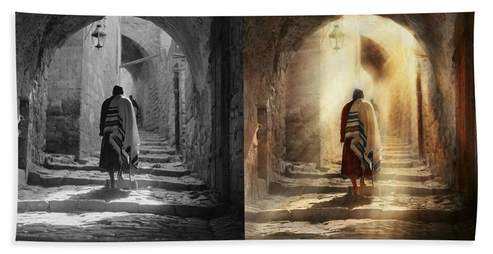 Jew Beach Towel featuring the photograph Jewish - Evening Prayers 1934 - Side By Side by Mike Savad