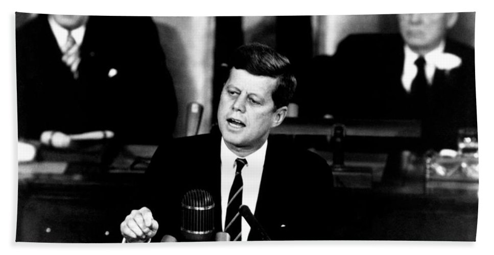 Jfk Beach Towel featuring the photograph Jfk Announces Moon Landing Mission by War Is Hell Store