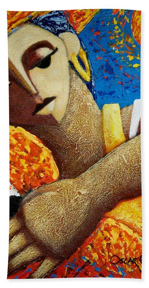 Puerto Rico Beach Towel featuring the painting Jibara y Sol by Oscar Ortiz