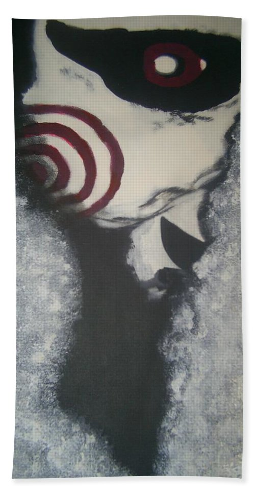 Saw Beach Towel featuring the painting Jig, Saw, Face by Jill Christensen