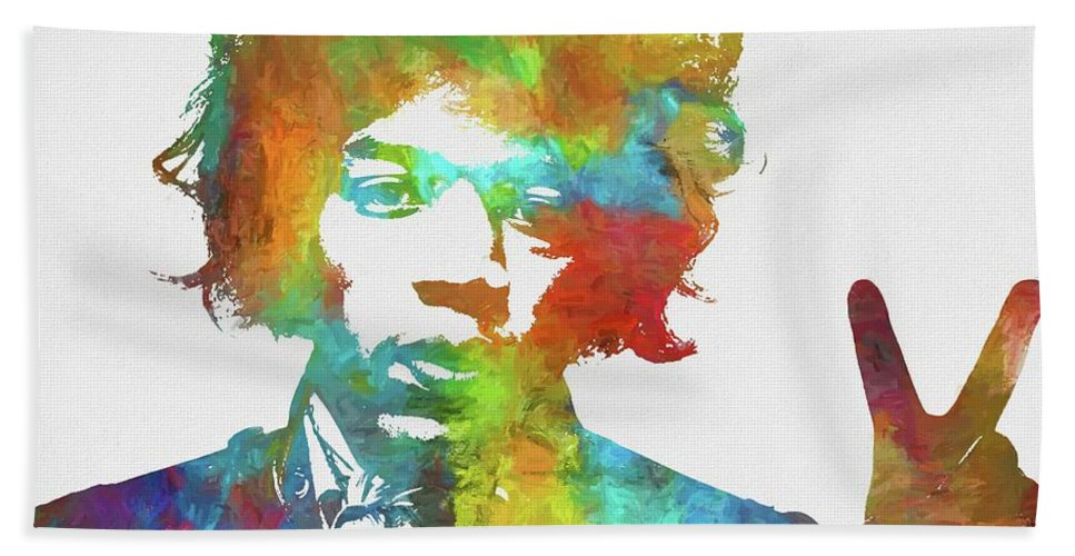 Jimi Beach Towel featuring the painting Jimi Hendrix Peace by Dan Sproul