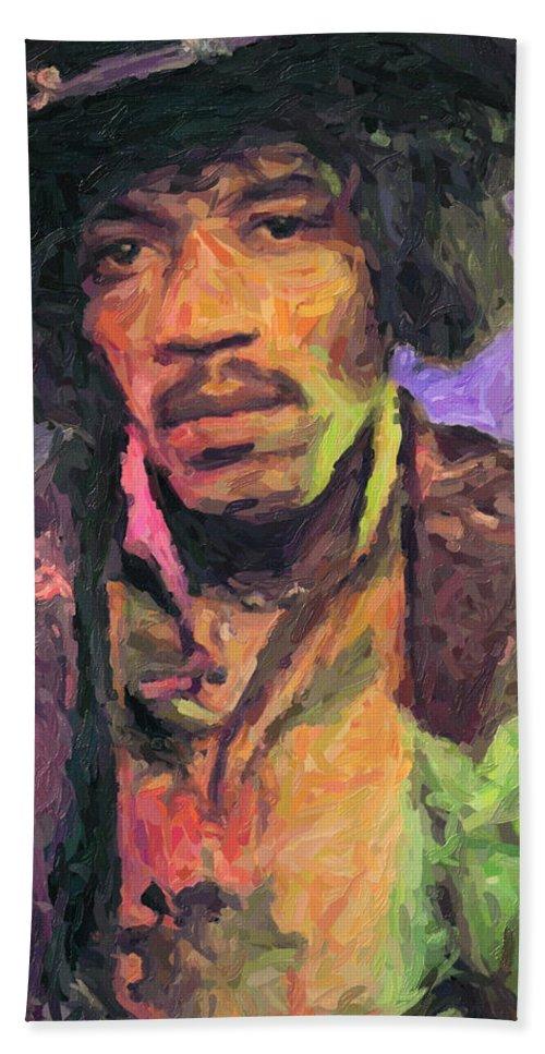 Jimi Hendrix Beach Towel featuring the painting Jimi Hendrix by Zapista OU
