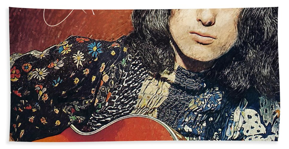 Jimmy Page Beach Towel featuring the digital art Jimmy Page by Zapista OU
