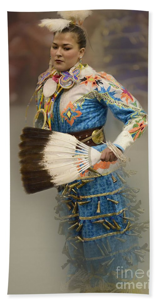 Pow Wow Beach Towel featuring the photograph Pow Wow Jingle Dancer 7 by Bob Christopher