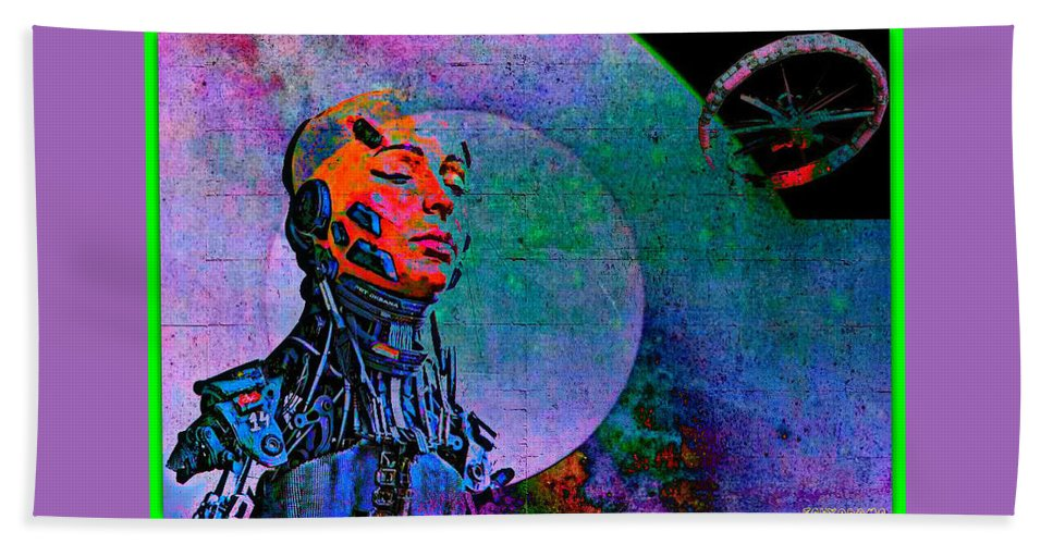 Jive Bot/robotics And Consciousness/she Had Left Her Robotic Body/ Beach Towel featuring the digital art Jive Bot/robotics And Consciousness/she Had Left Her Robotic Body/ by Tony Adamo