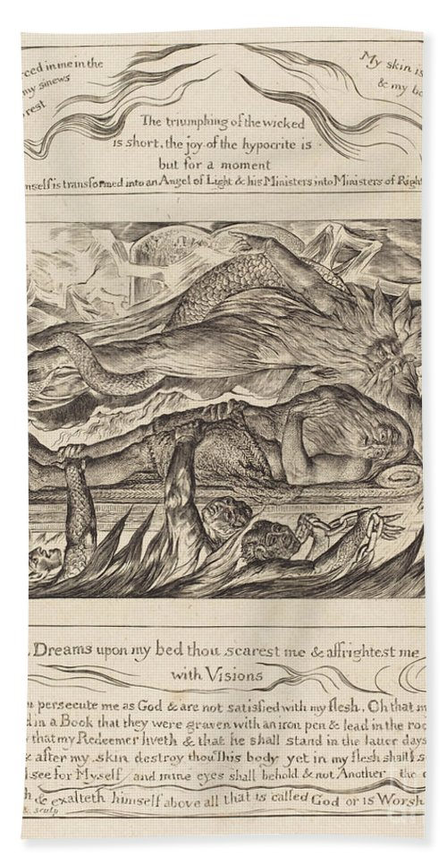 Beach Towel featuring the drawing Job's Evil Dreams by William Blake
