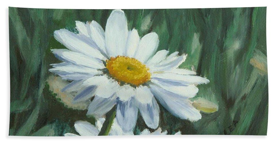 Daisy Beach Towel featuring the painting Joe's Daisies by Lea Novak