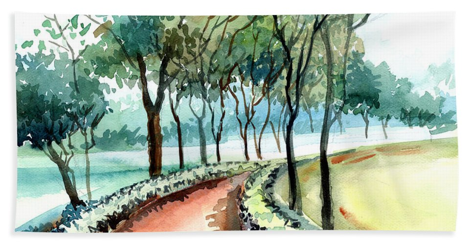 Landscape Beach Sheet featuring the painting Jogging Track by Anil Nene