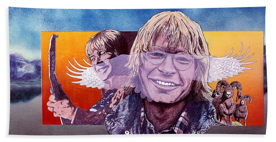 John Denver Beach Towel featuring the mixed media John Denver by John D Benson