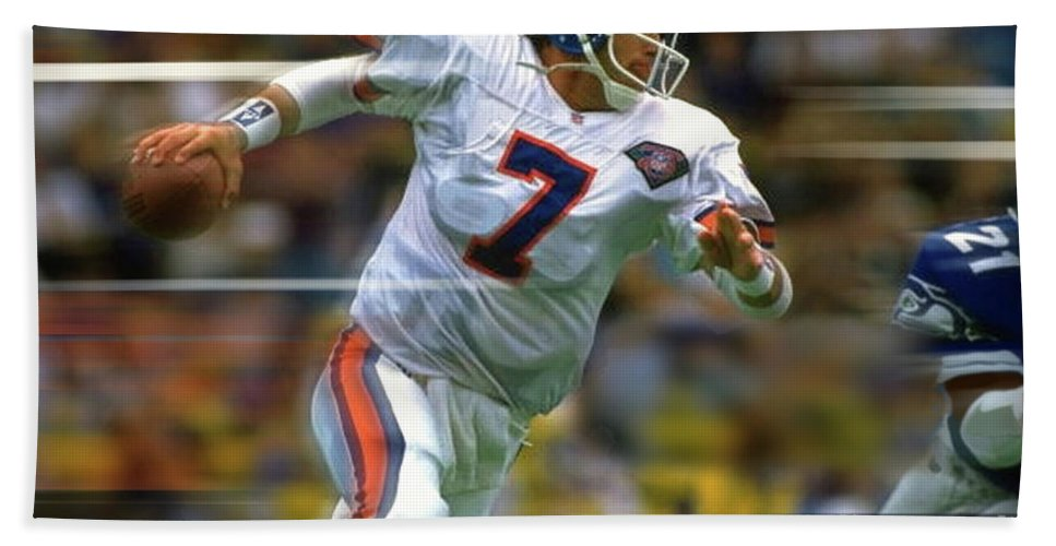 afd943c4 John Elway, Number 7, Quarterback, Denver Broncos Beach Towel
