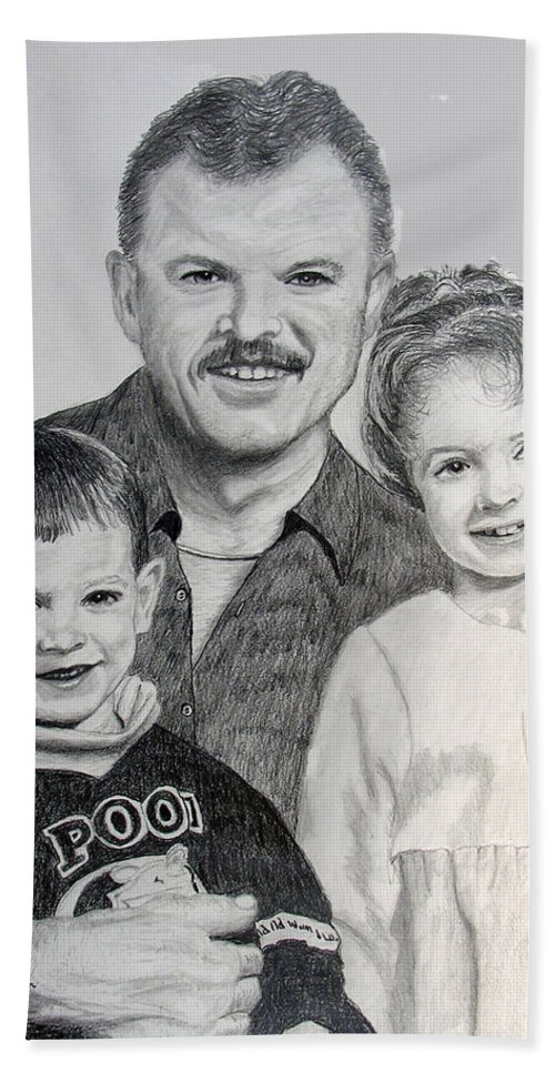Portrait Beach Towel featuring the drawing John Megan And Joey by Stan Hamilton