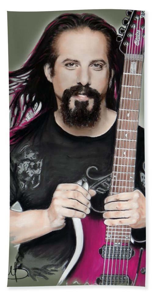 John Petrucci Beach Sheet featuring the mixed media John Petrucci by Melanie D