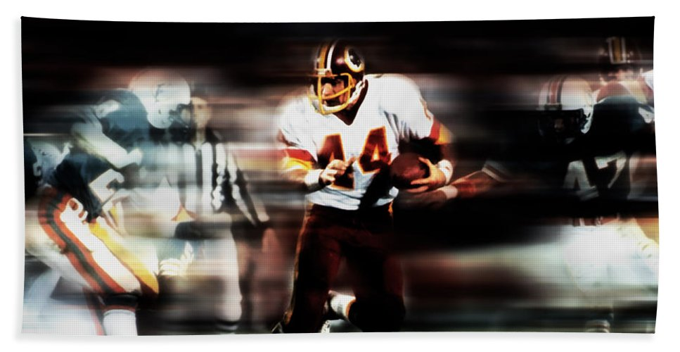 John Riggins Beach Towel featuring the mixed media John Riggins by Brian Reaves