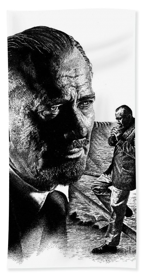 John Steinbeck Beach Towel featuring the drawing John Steinbeck by Don Locke