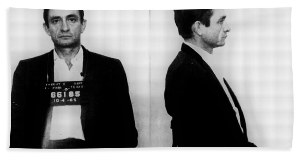 Johnny Cash Beach Towel featuring the painting Johnny Cash Mug Shot Horizontal by Tony Rubino