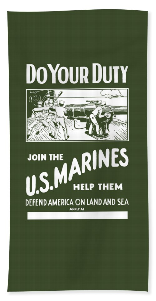 Marine Beach Towel featuring the painting Join The Us Marines by War Is Hell Store