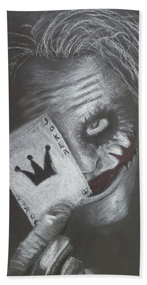 Bat Beach Towel featuring the drawing Joker by Stefan Obili
