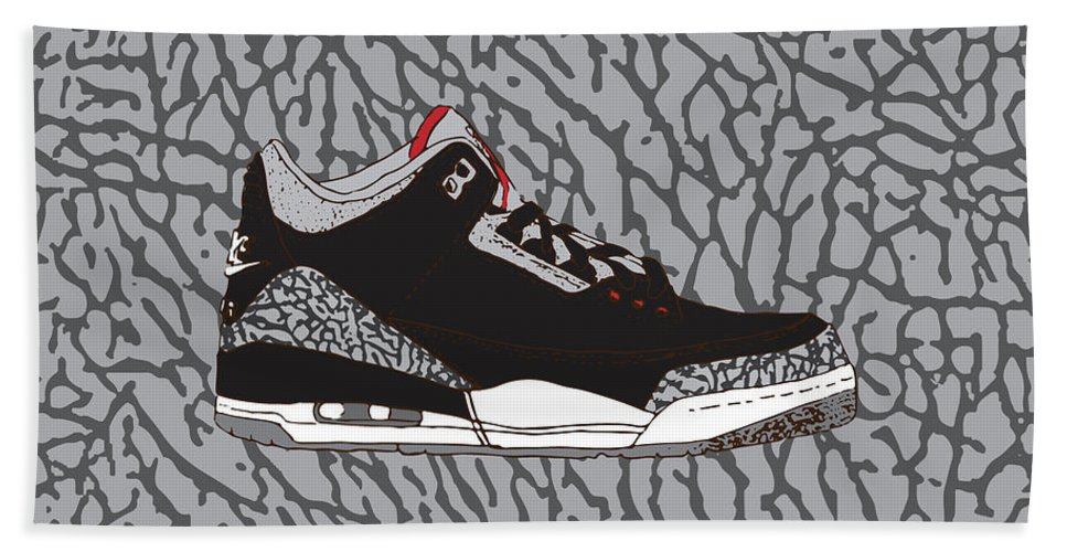 bfda8a3bec7 Jordan 3 Black Cement Beach Sheet featuring the digital art Jordan 3 Black  Cement by Letmedraw