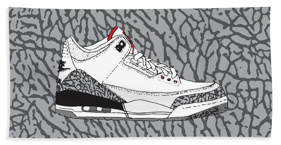 c4c98cb7fa8 Jordan 3 White Cement Beach Towel featuring the digital art Jordan 3 White  Cement by Letmedrawyourpicture