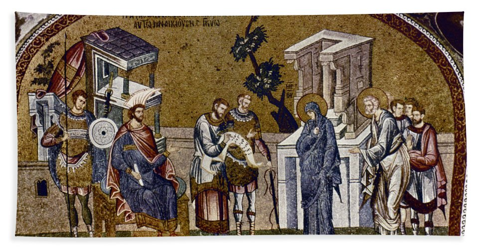 14th Century Beach Towel featuring the photograph Joseph And Mary by Granger