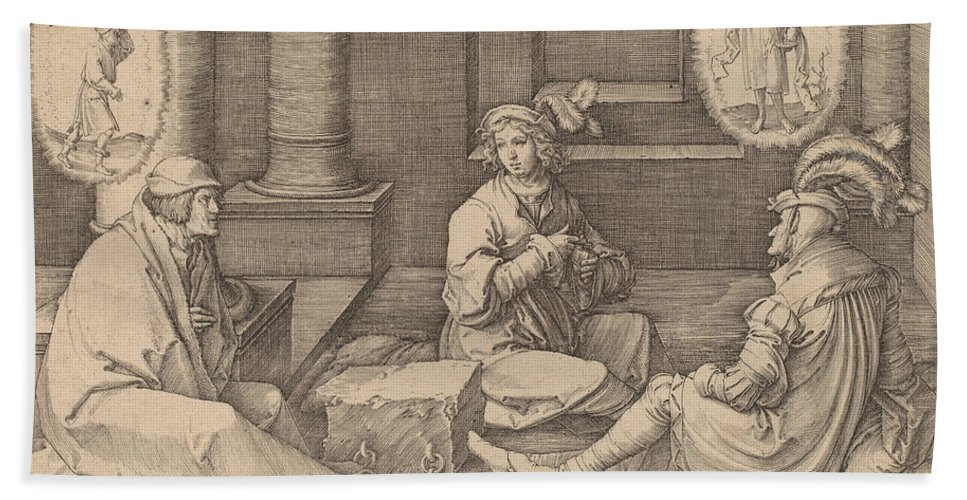 Beach Towel featuring the drawing Joseph Interprets The Dreams In Prison by Lucas Van Leyden