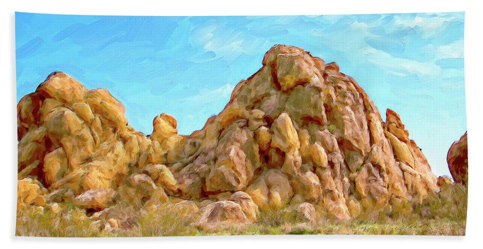 Rocks Beach Towel featuring the painting Joshua Tree Rocks by Dominic Piperata