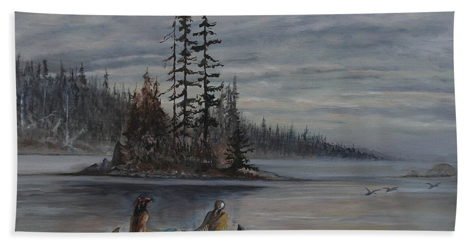 First Nation Beach Sheet featuring the painting Journey - Lmj by Ruth Kamenev